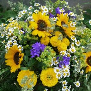 Blumenstrauss mit Sonnenblume, Minigerbera, Kamille, Campanula