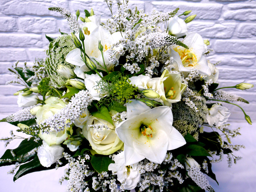 Blumenstrauss Wie Eine Weisse Wolke Ausschliesslich Weisse Blumen