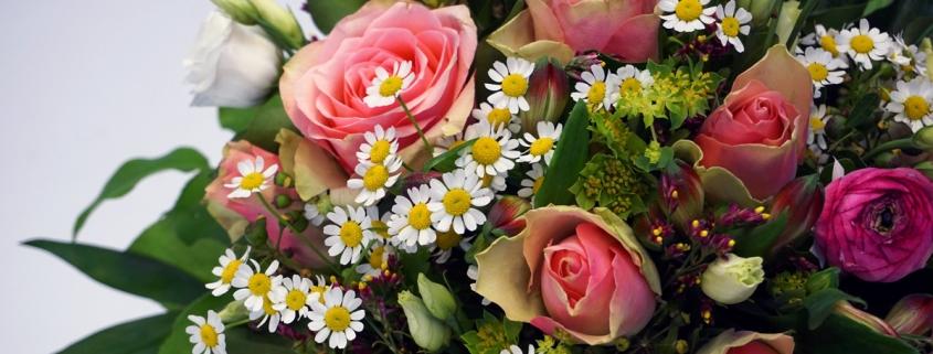 Rosenglück mit rosa Rosen, Kamille und Ranunkel, Latifolia