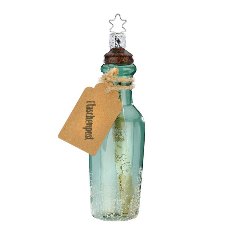 Flaschenpost, Christbaumschmuck aus Glas, von Hand bemalt, Inge Glas