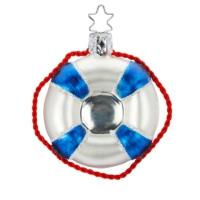Christbaumkugel Rettungsring, maritime Weihnachtskugel aus Glas wie ein Rettungsring von Mund geblasen