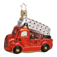 Feuerwehrauto, mundgeblasener Christbaumschmuck von Inge Glas aus dem Erzegebirge