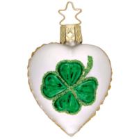 Weihnachtsbaumanhänger: Ingeglas Christbaumschmuck Herz mit Kleeblatt